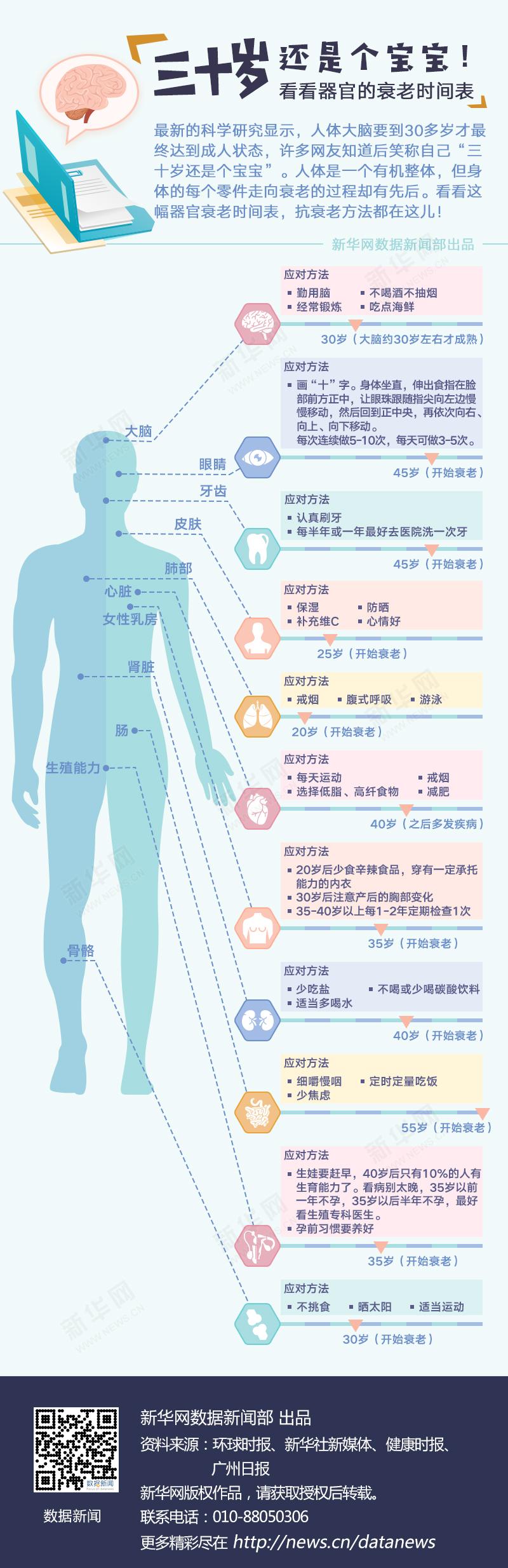 看看器官的衰老时间表